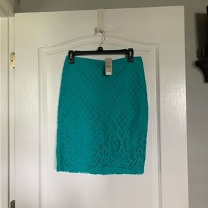 Loft Pencil skirt with lace overlay